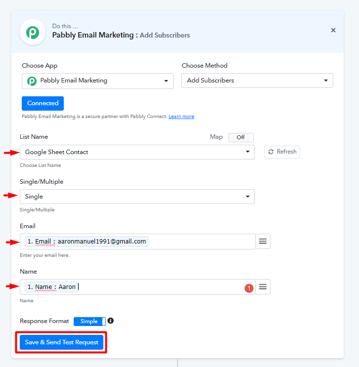 Connect Google sheets to Pabbly Emails Marketing