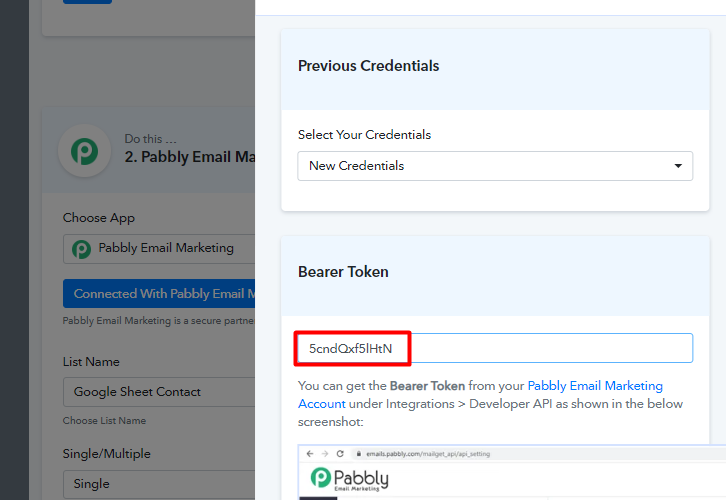 Paste the Tokenfor connecting google sheets to pabbly email marketing