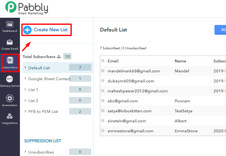 Create New List to integrate pabbly connect to pabbly email marketing