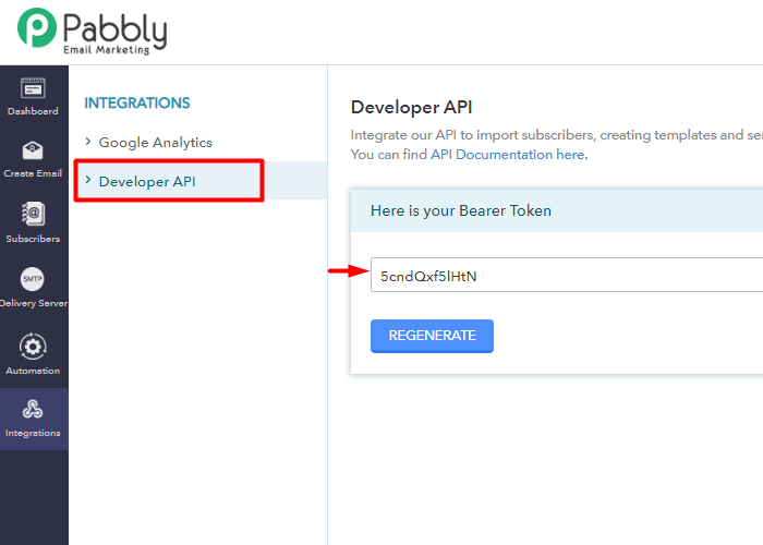 Copy Developer API integrate pabbly connect to pabbly email marketing