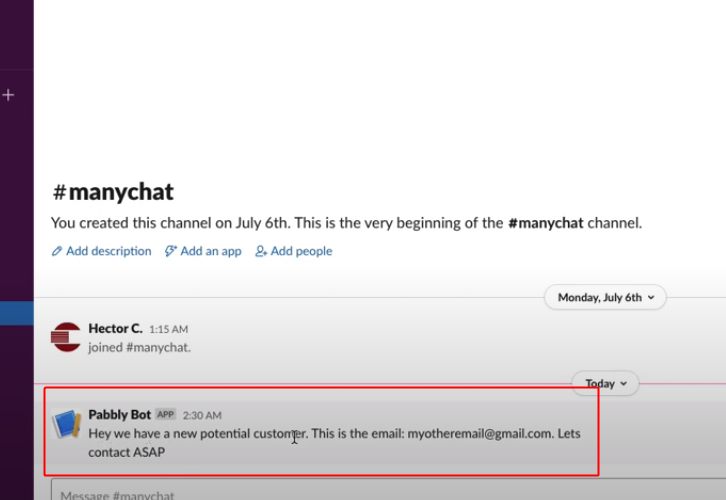Check Response on Slack Integrate ManyChat with Slack
