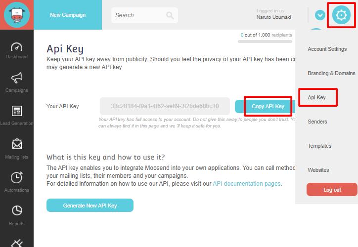 Copy Moosend API Key
