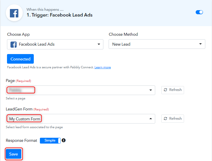 Select Fb Page and Form to Collect Leads Data