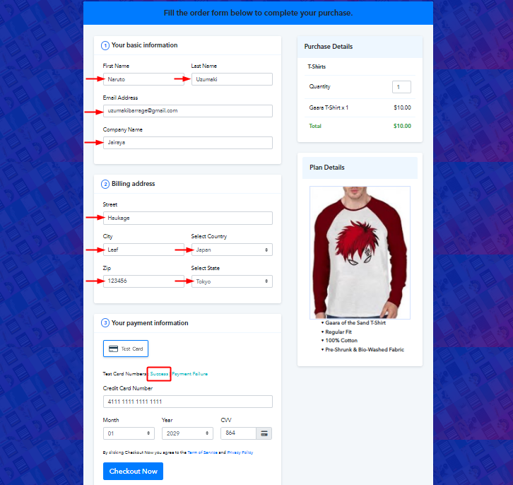 Fill Test Checkout Page