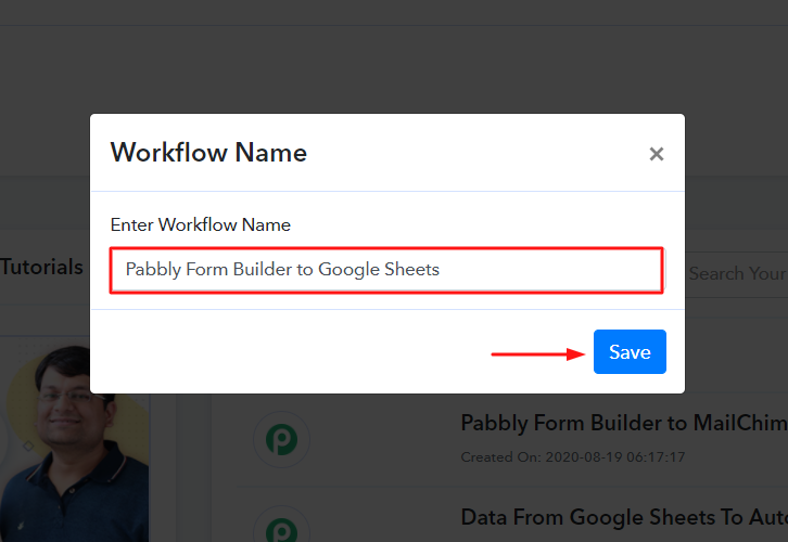Name the Workflow for Pabbly Form Builder to Google Sheets