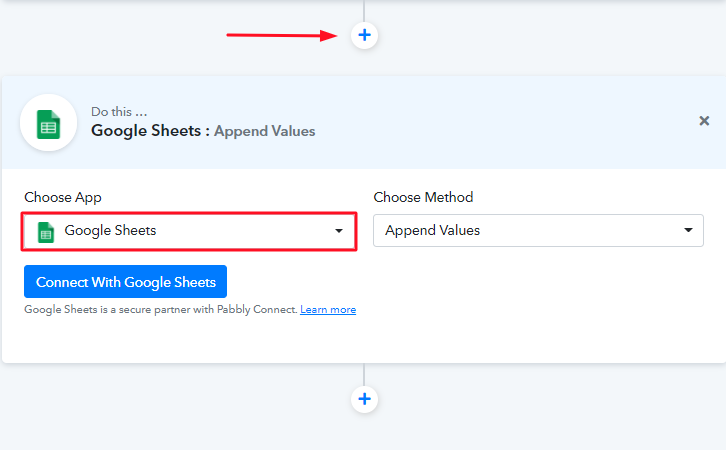 Select Google Sheets to Set Action to Integrate Facebook Lead Ads & Google Sheets