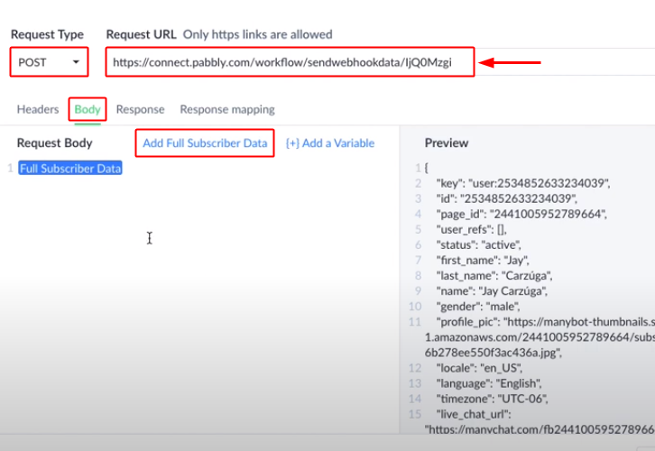 Paste Pabbly Webhook URL in ManyChat & Do Settings Integrate ManyChat with Slack