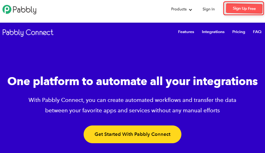 Sign-up to Pabbly Connect