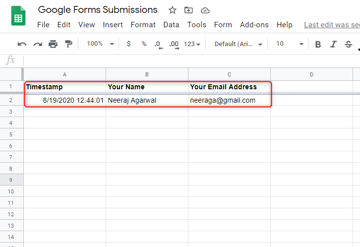 Test Data - Google Forms Submissions