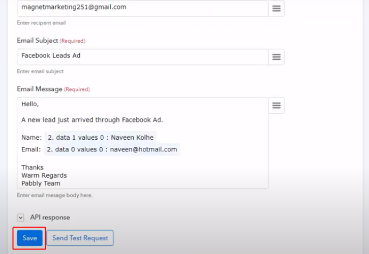 Save the Response Send Facebook Lead Ads Leads Data to Gmail Automatically