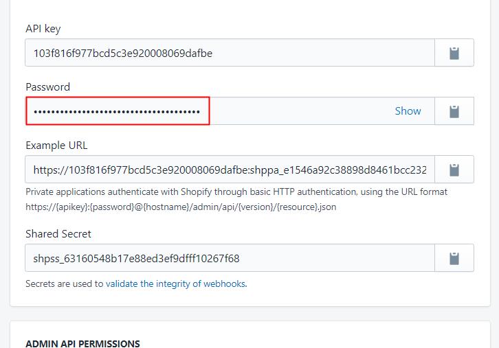 Copy the API Key Password