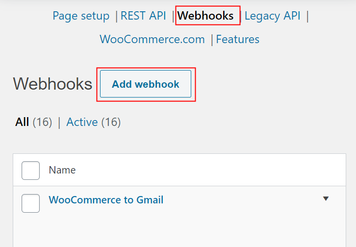 Click on Webhooks Option