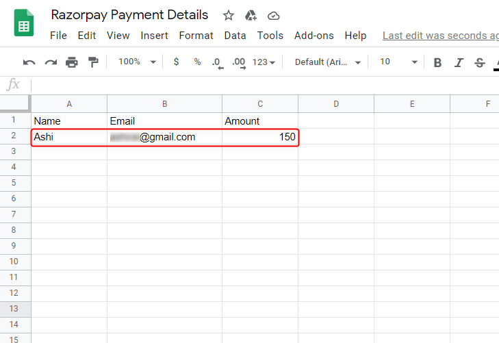 Check Submission in Google Sheet - Transfer Razorpay Payment details