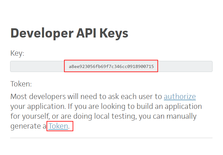 Copy API Key & Bearer Token
