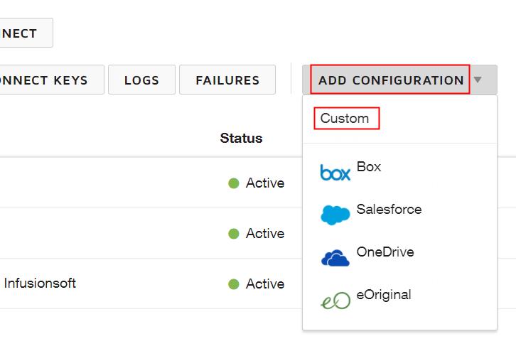 Head to Add Configuration Option
