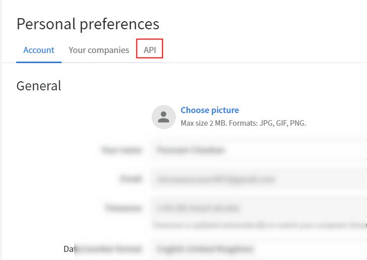 Click on API Option