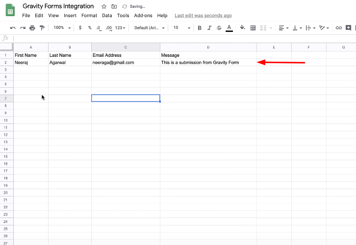 Integrate Gravity Forms with Google Sheets