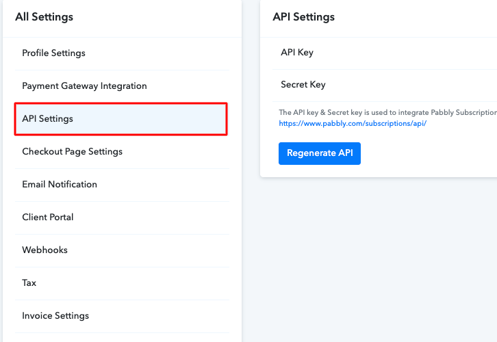 Click on API settings