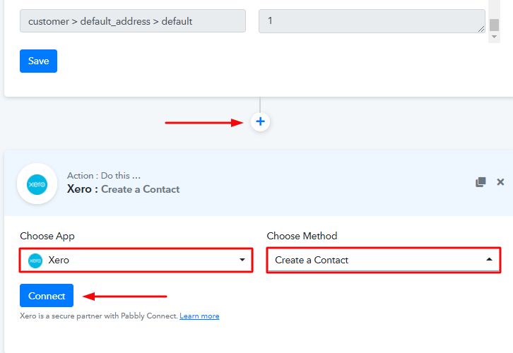 Setting Action for Shopify & Xero Integration