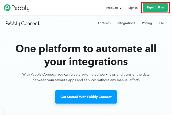 Sign up to Pabbly Connect