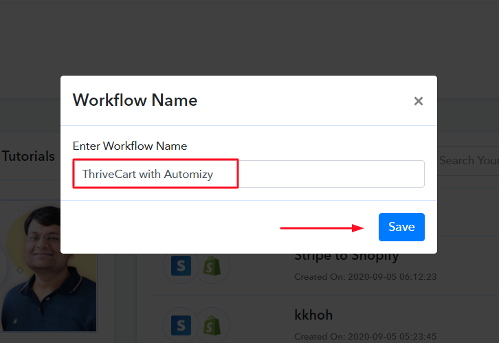 Name the Workflow to ThriveCart with Automizy