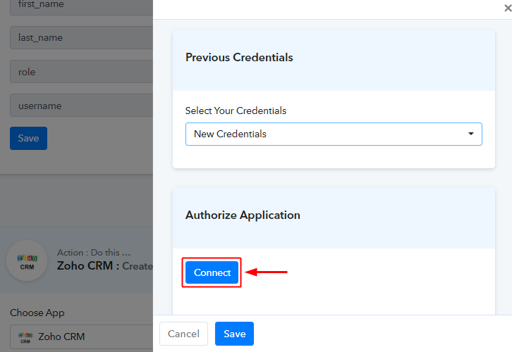 Authorize Zoho CRM Account