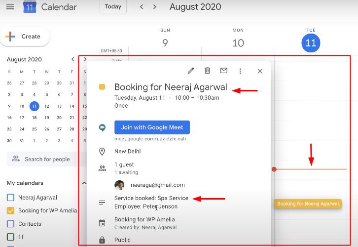 Check Response in Google Calendar