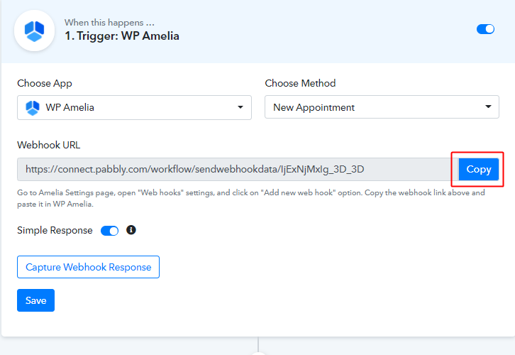 Copy PC Webhook URL to Connect WP Amelia to Google Calendar and Gmail