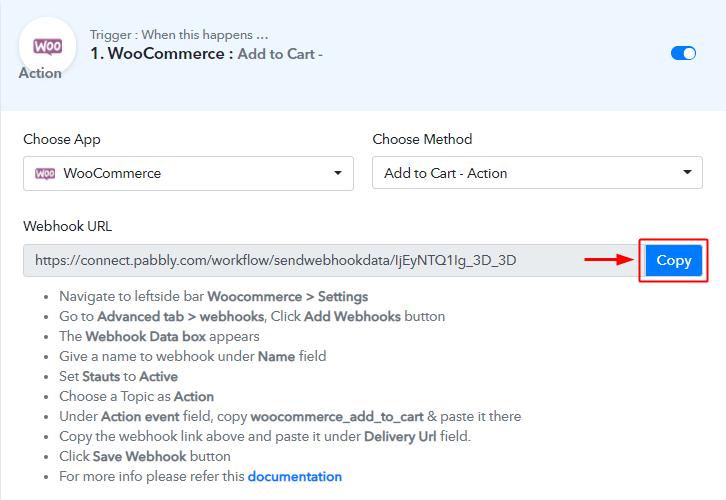 Copy Webhook URL
