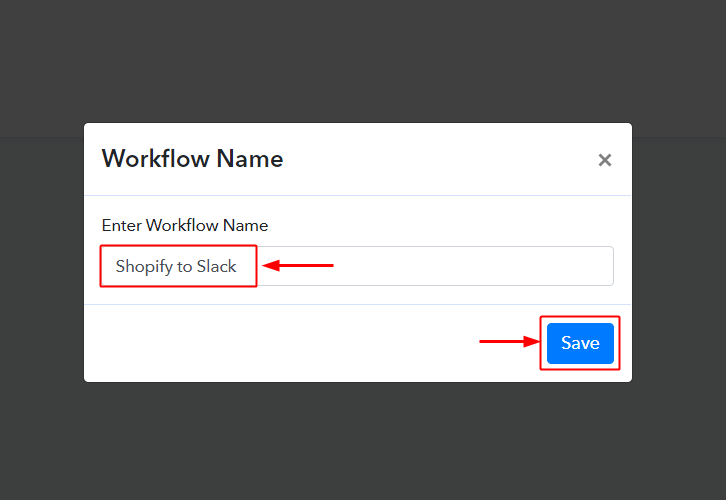 Create Workflow Shopify to Slack