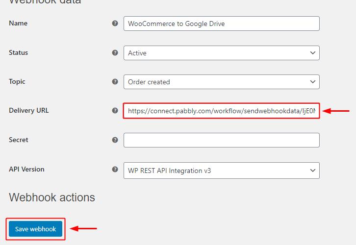 Paste the Webhook URL