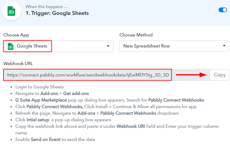 Setting Trigger - To Integrate Google Sheets to MailerLite Conditionally