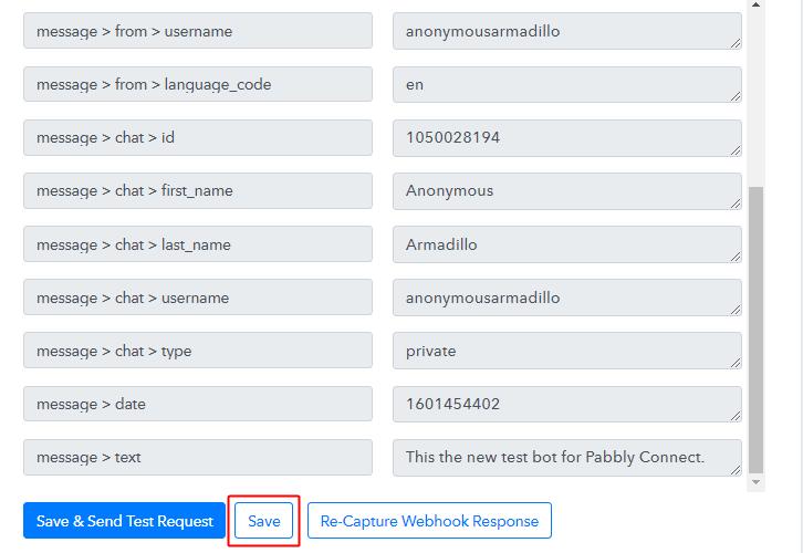 Save Webhook for Telegram and Google Sheets Integration