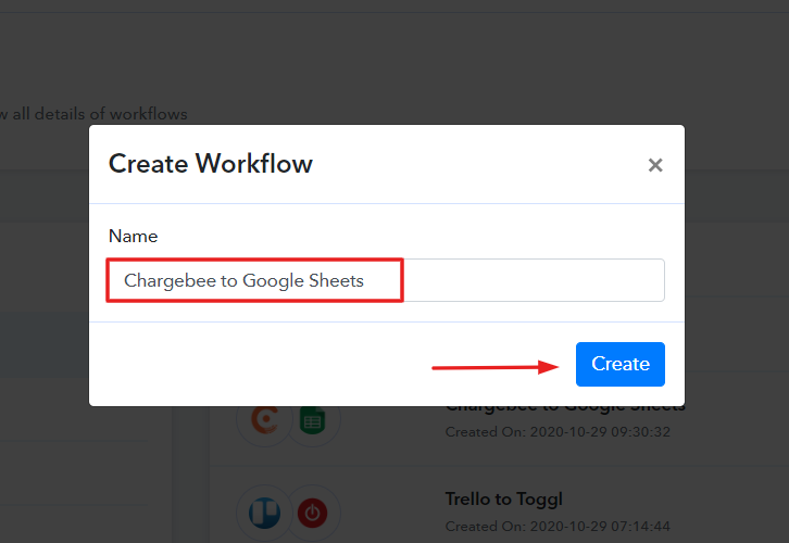 Name the Workflow for Chargebee to Google Sheets