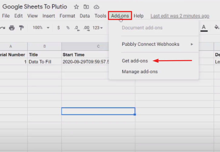 Open your Google Sheets Spreadsheet to Create Plutio Tasks from New Google Sheets Rows
