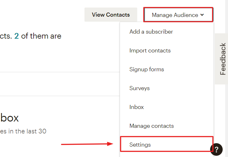Click on Manage Audience