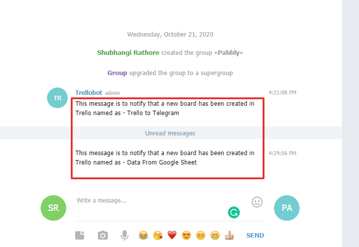 Check Response in Telegram to Get Trello Notifications in Telegram