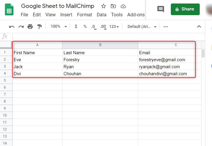 Create a Google Sheet