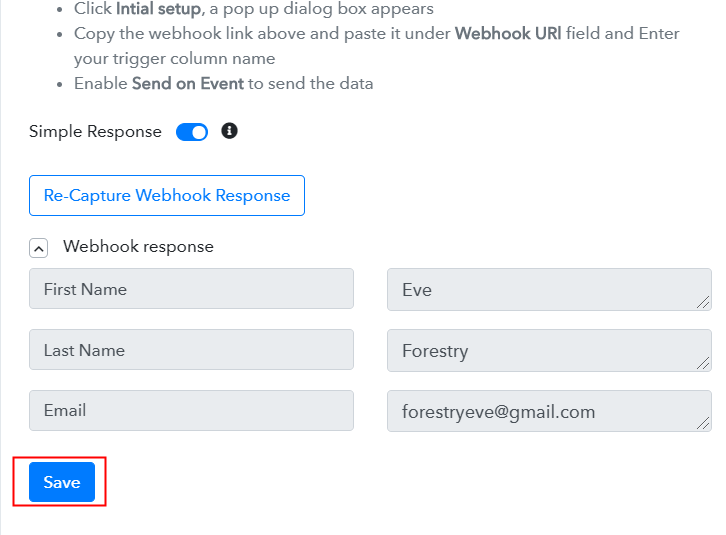 Test the Response in Pabbly Connect Dashboard