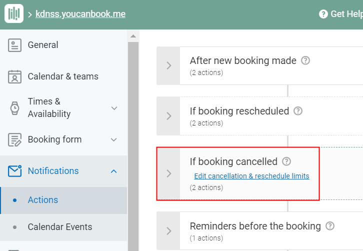 Choose If Booking Cancelled Option