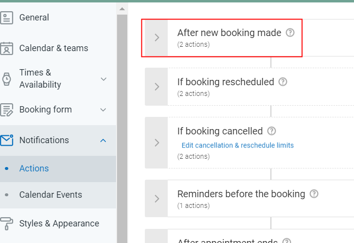 Choose After Booking Made Option