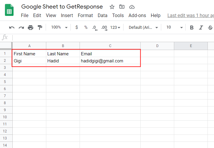 Create a Google Sheet