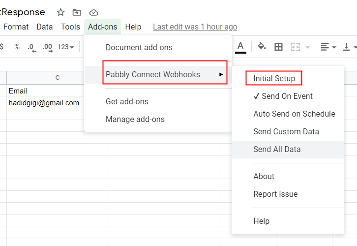 Press Initial Setup in Google Sheets