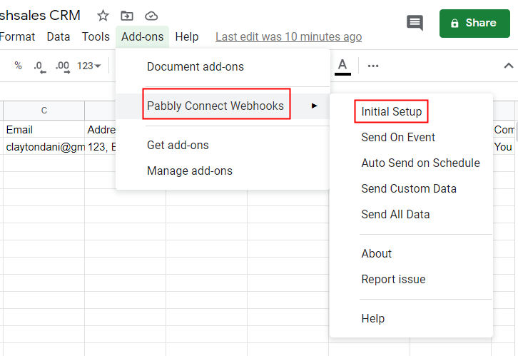 Press Initial Setup in Google Sheets