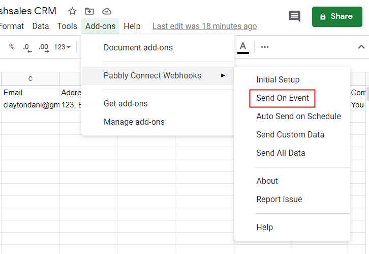 Click Send On Event In Google Sheets