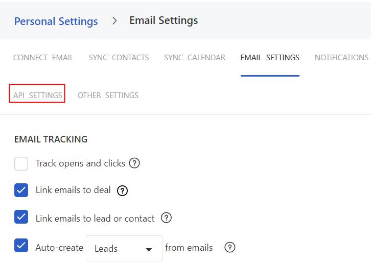 Click on API Settings Option