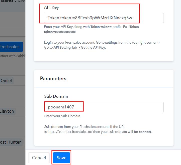 Fill API Key and Subdomain