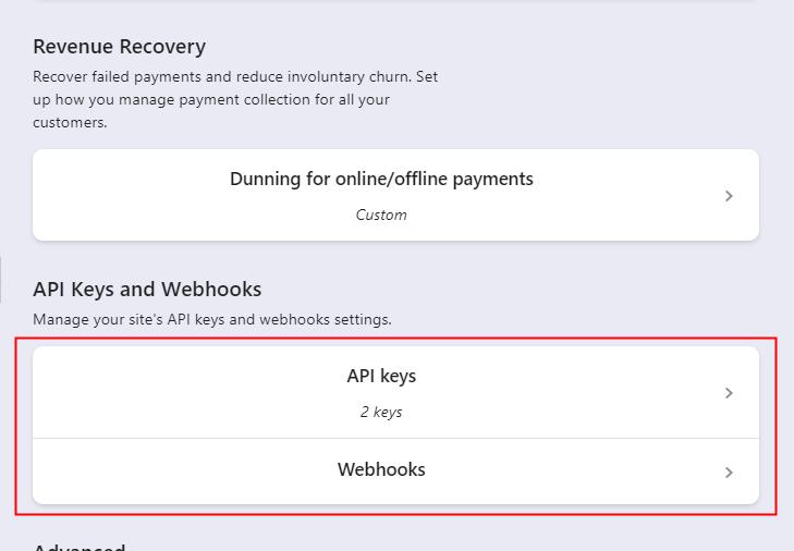 Go to API Keys and Webhooks Option