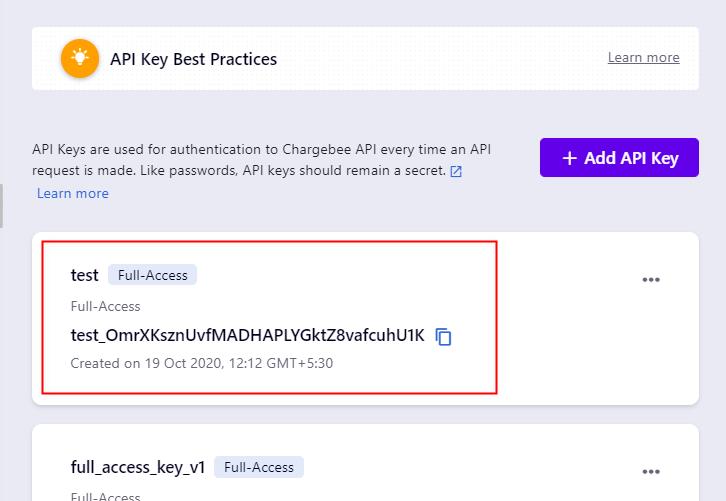 Copy an API Key