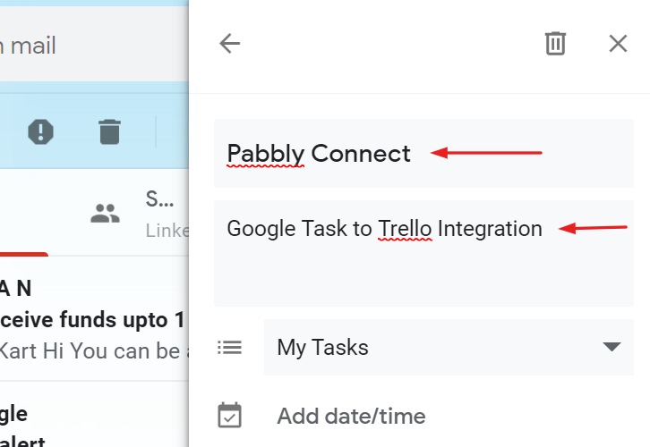 Name the task to Create Trello Cards from new Google Tasks Tasks